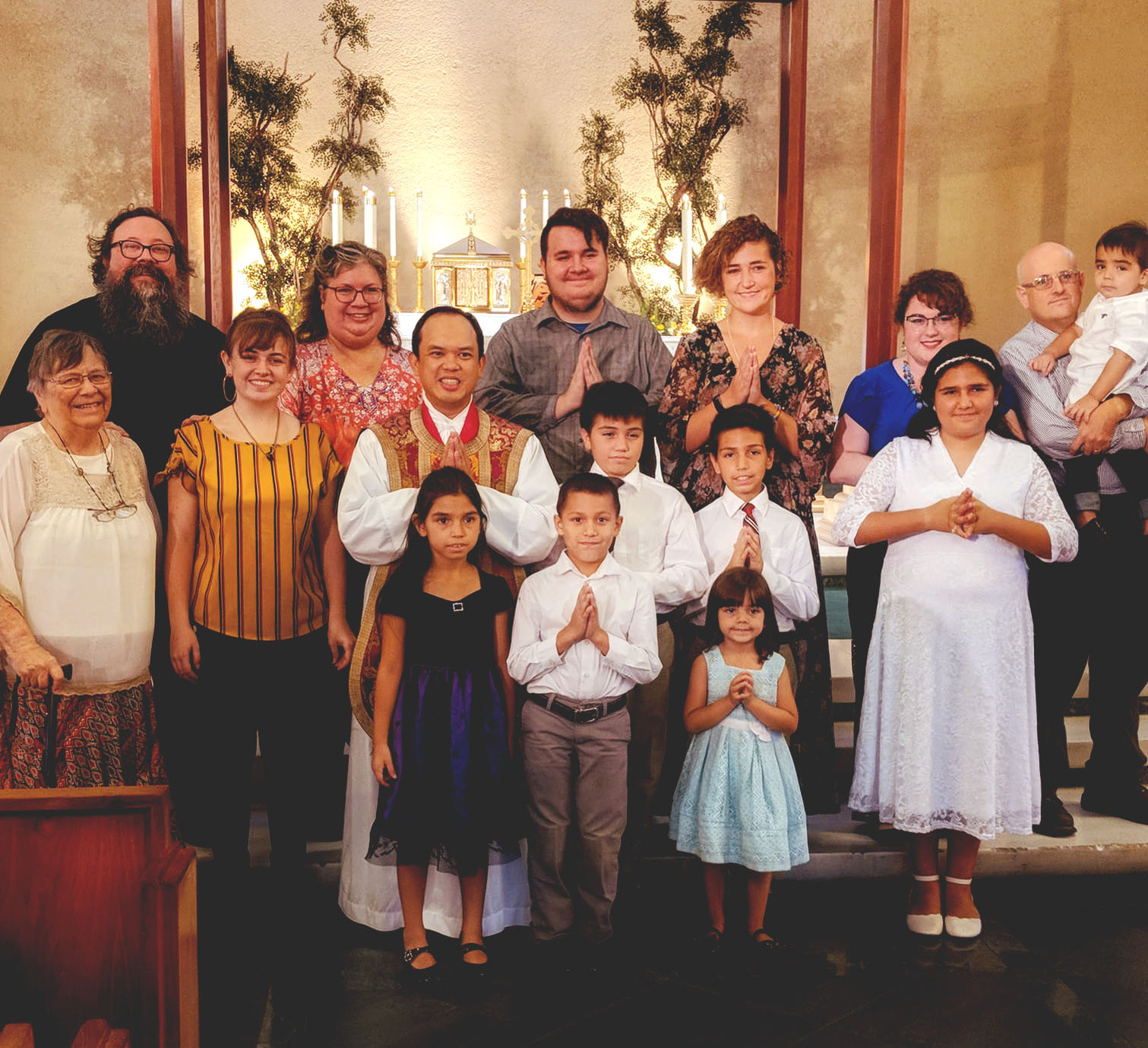 Once again, my favorite pic - my whole family together in church, as it should be.